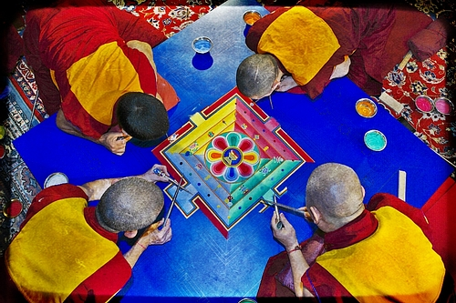Monks Working on a Sand Mandala