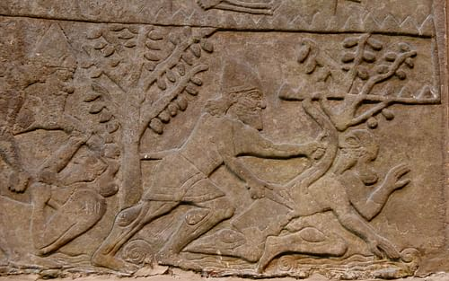 assyrian soldiers slaughtering their enemies illustration