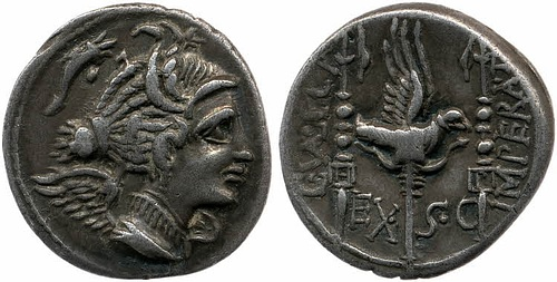 Silver Denarius Depicting Legionary Eagle