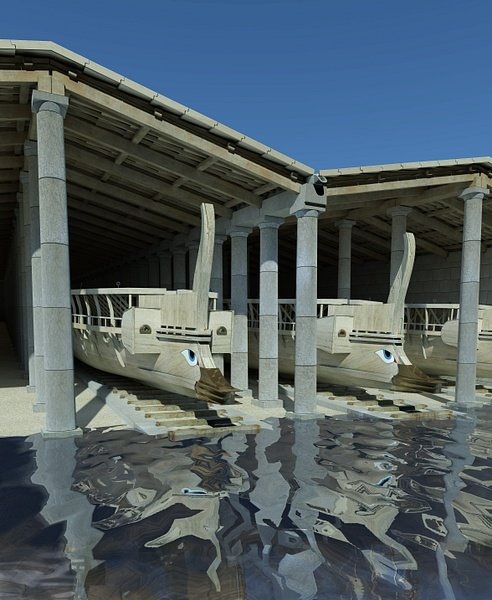 Greek Trireme Shipsheds (by Zea Harbour Project)