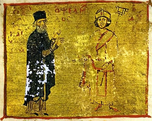 Michael Psellos & Michael VII (by Unknown Artist, Public Domain)