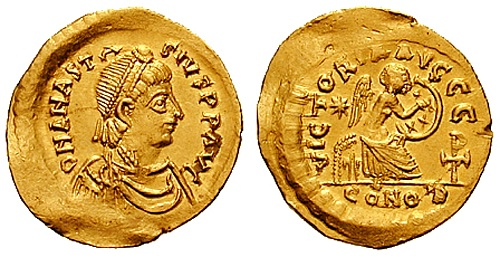 Coin of Anastasios I (by Classical Numismatic Group, Inc., CC BY-SA)