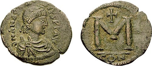 Copper Follis of Anastasios I
