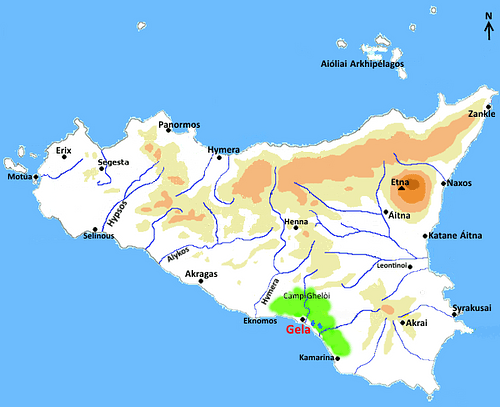 Map of Greek Sicily, 5th Century BCE