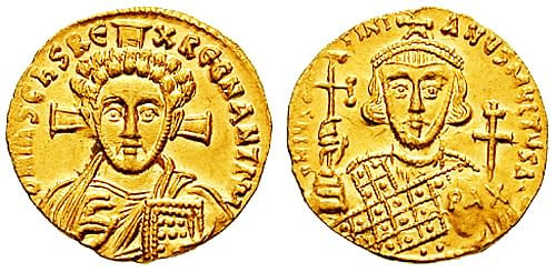 Coin of Justinian II (by Classical Numismatic Group, Inc.)