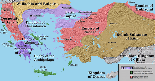 Division of the Byzantine Empire, 1204 CE. (by LatinEmpire, CC BY-SA)