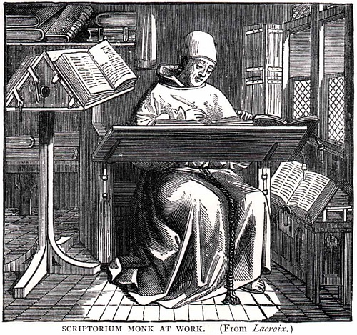 Monk Working in Scriptorium