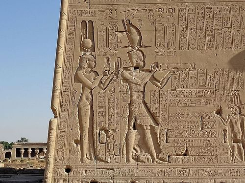 Relief of Cleopatra VII and Caesarion at the Dendera Temple