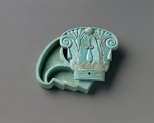 Egyptian Faience Capital-shaped Cosmetic Box