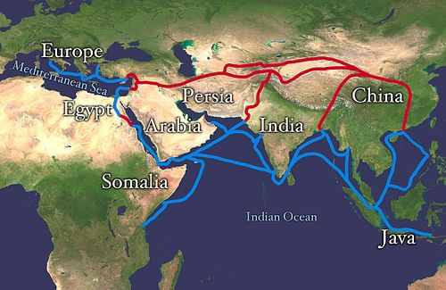 Map of the Silk Road Routes (by Whole World Land And Oceans)