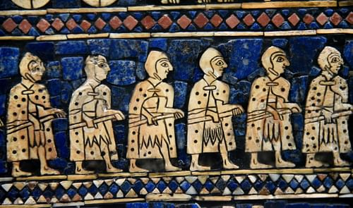 Detail of the War Scene of the Standard of Ur Showing Sumerian Warriors (by Osama Shukir Muhammed Amin, CC BY-NC-SA)