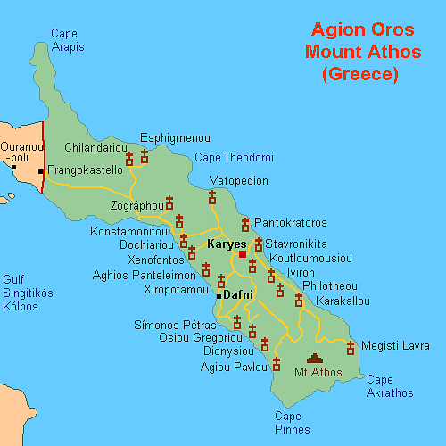 Map of Mount Athos Monasteries