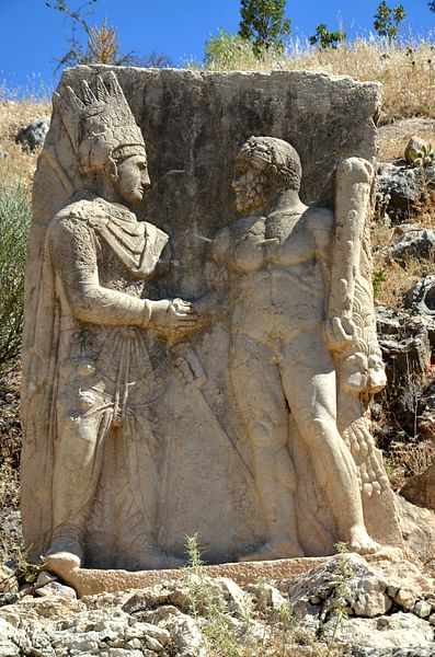 Antiochus I of Commagene Shaking Hands with Hercules