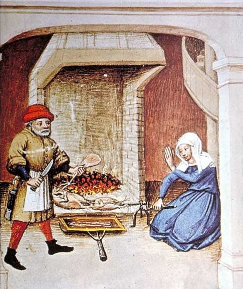 Medieval Cooking Scene