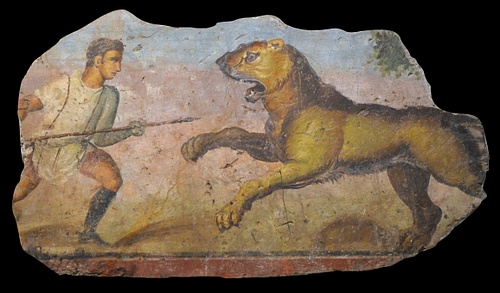 Roman Hunter with Lioness Painting