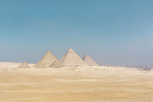 The Pyramids of Giza (by Adam Bichler, Public Domain)
