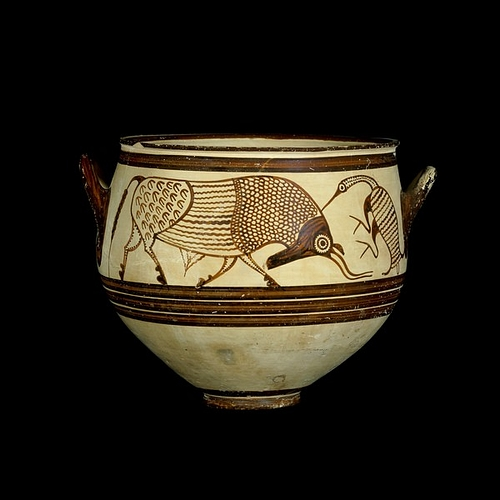 Mycenaean Vase Decorated With Bulls & Birds