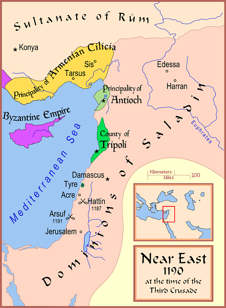 Map of The Latin East, 1190 CE