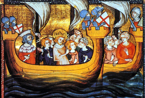 Louis IX Departing for the Seventh Crusade (by Unknown Artist, Public Domain)