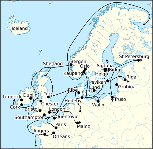 Viking Age Trade Routes in North-West Europe