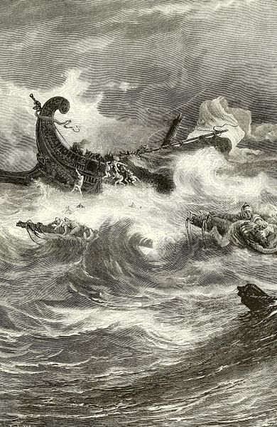 Phoenician Ship in a Storm (by John Clark Ridpath, 1840-1900, Public Domain)