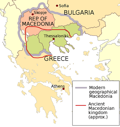 Ancient Macedon & Modern Political Map Overlay