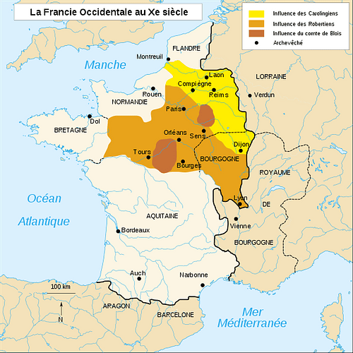Map of France, 10th Century CE