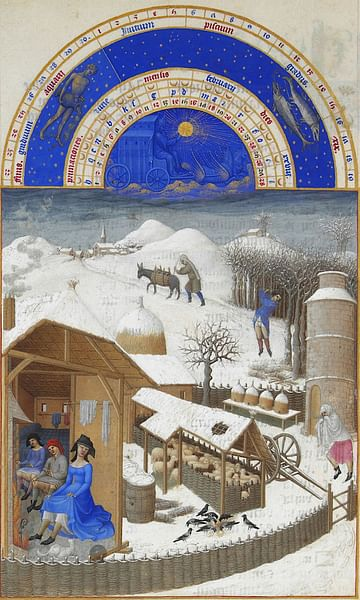 February, Les Tres Riches Heures (by Limbourg Brothers)