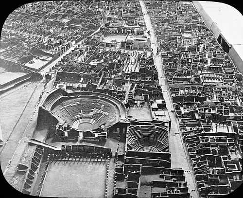 Aerial View of Pompeii (by Brooklyn Museum Archives. Goodyear Archival Collection. Visual materials [6.1.024]: Pompeii. Theaters, Pompeii, Italy., Public Domain)
