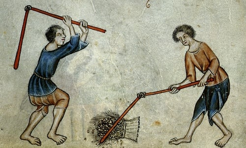 Medieval Peasants Threshing