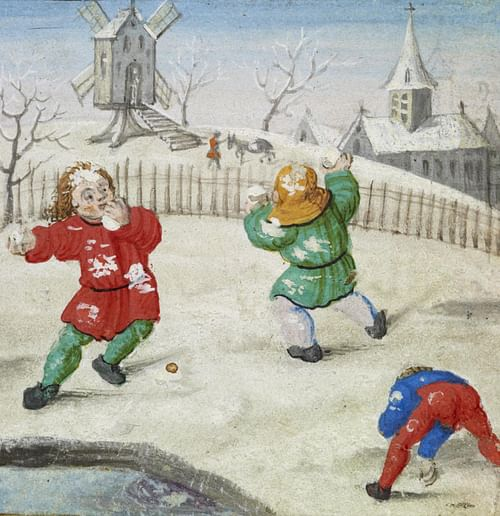 Medieval Children Snowballing