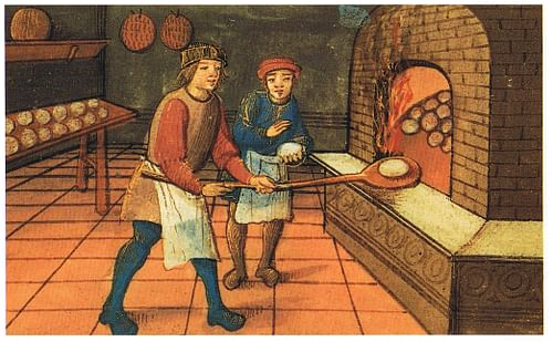 Medieval Baker & Apprentice (by Unknown Artist, Public Domain)