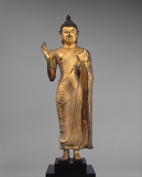 Standing Gilded Copper Buddha