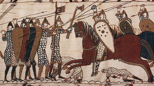 Battle of Hastings, Bayeux Tapestry (by Unknown Artist, Public Domain)