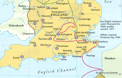 Map of William the Conqueror's 1066 CE Campaigns