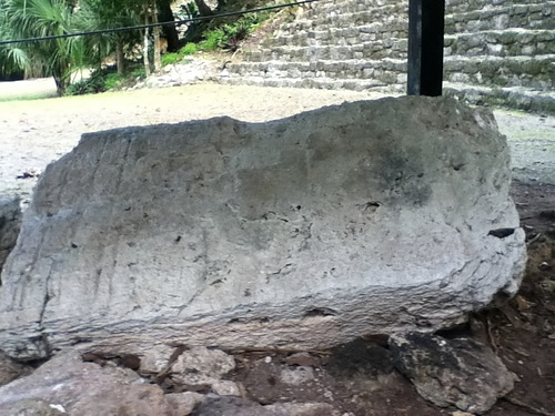 Maya Stele in Grand Plaza Chacchoben, Mexico