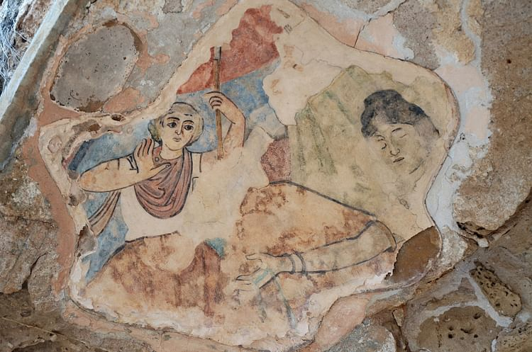 Fresco with Hylas in Salamis, Cyprus