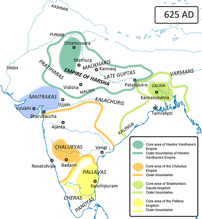 Ancient India in 625 CE