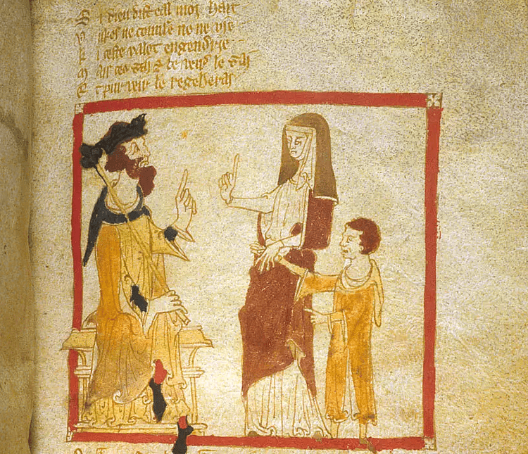 Merlin and His Mother Before King Vortigern