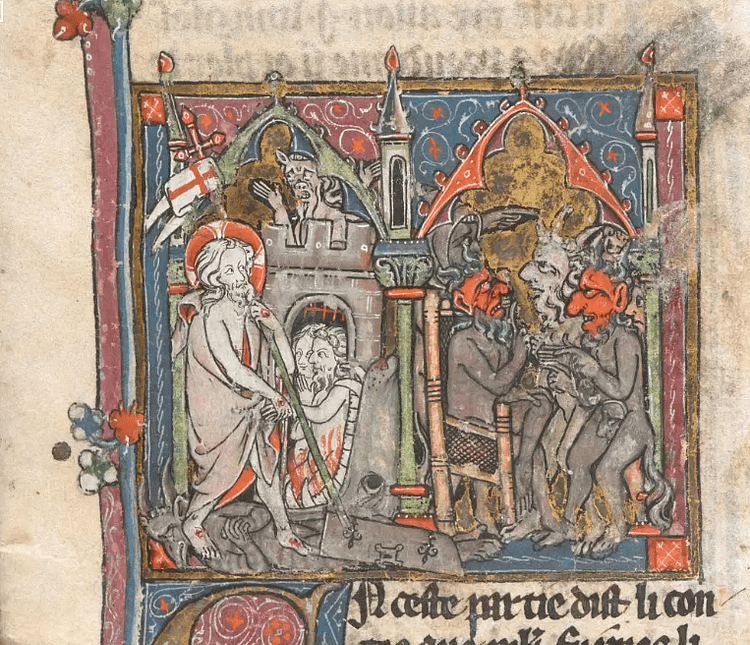 Devils Plotting the Birth of Merlin, Vulgate Cycle