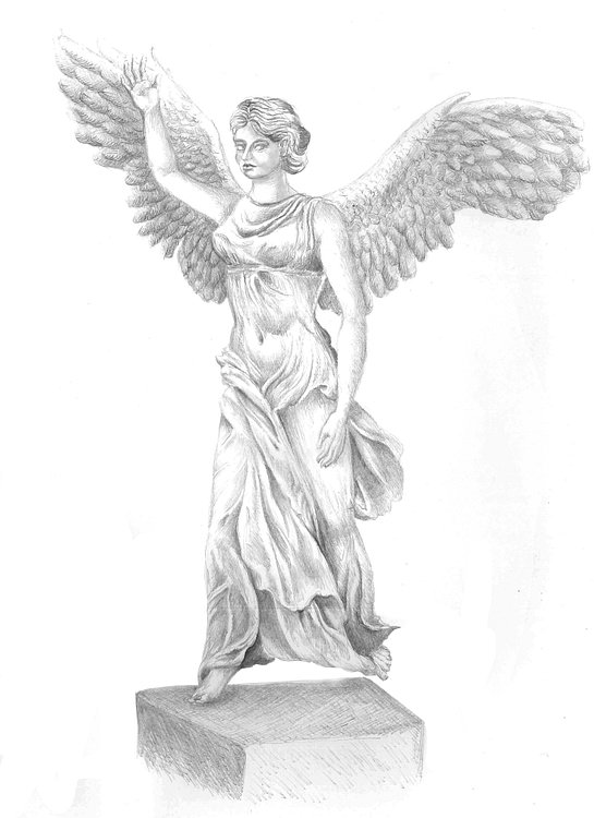 Artist's impression of the Nike of Samothrace