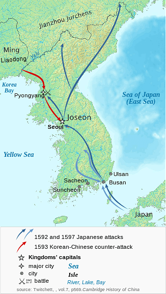 Map of Japanese Invasions of Korea, 1592-98 CE