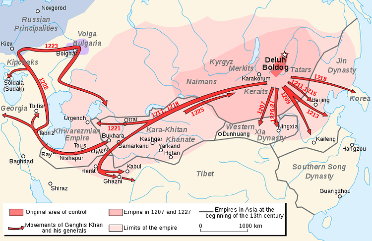 Map of the Campaigns of Genghis Khan