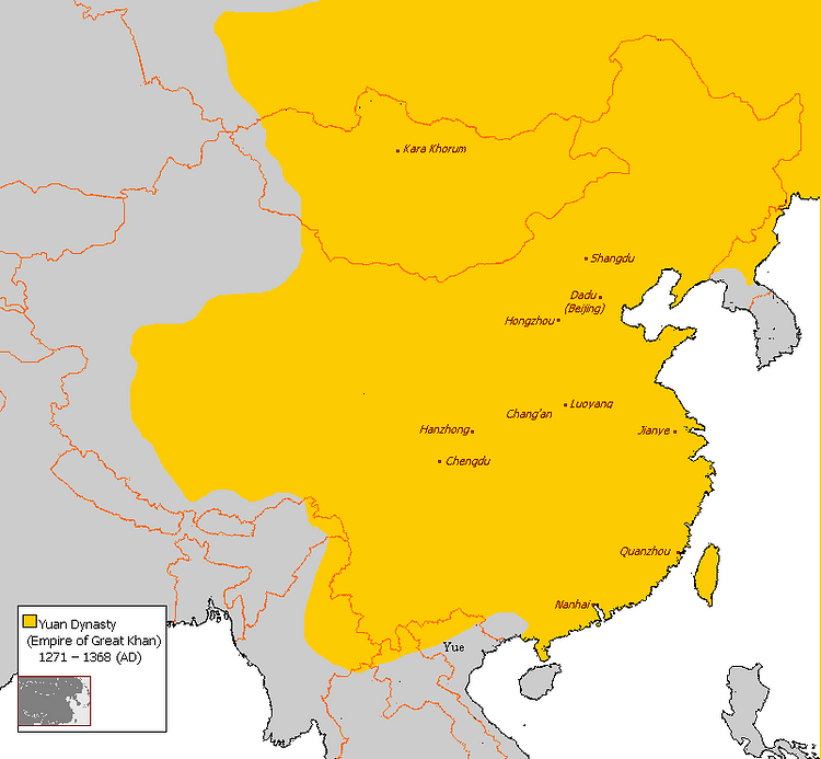 Map of Yuan Dynasty China