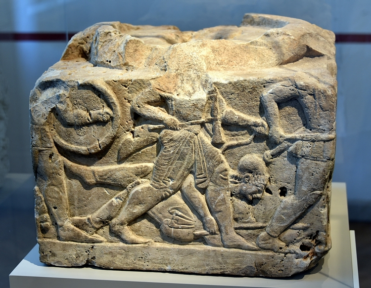 Base of a Cippus Showing Greeks & Amazons