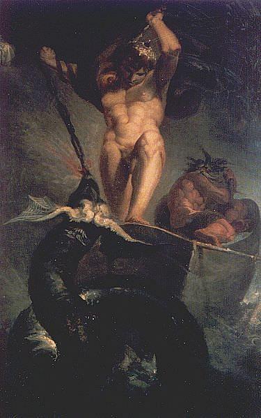 Thor lutando contra Jörmungandr (Rannveig)