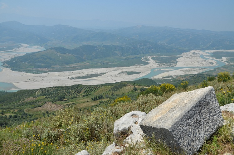 View towards the Vjosa Valley from Byllis, Albania