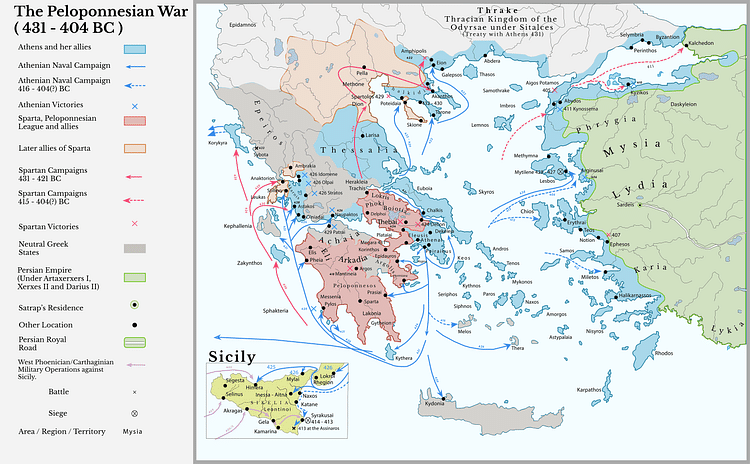 Map of the Peloponnesian Wars (431-404 BCE)