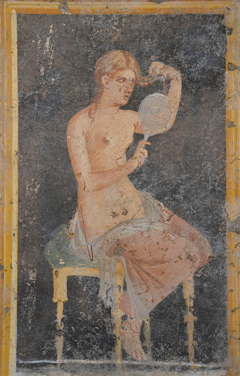 Fresco of a Woman Holding a Mirror