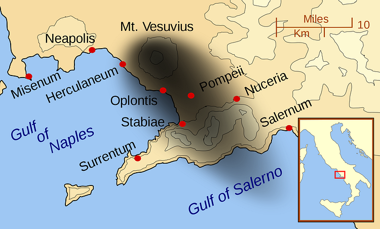 Map of the Bay of Naples, 79 CE
